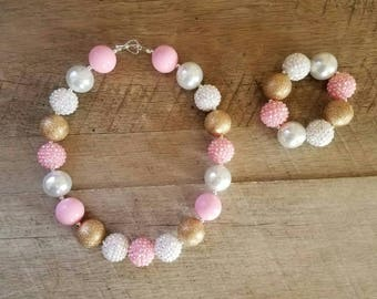 Pink Gold White Chunky Necklace, Bubblegum Bead Necklace, Chunky Beads, Baby Bubblegum Necklace, First Birthday, Pink and Gold Necklace