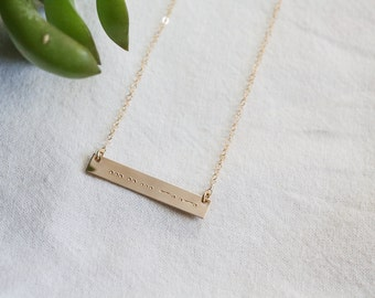 Gold Bar Necklace - Morse Code Necklace - I Love You - Morse Code - Morse Code Jewelry - Love Necklace - I love You Necklace
