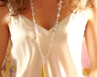 Hemera, necklace in blue chalcedony, Moonstone, jade white, silver and yellow Pompom