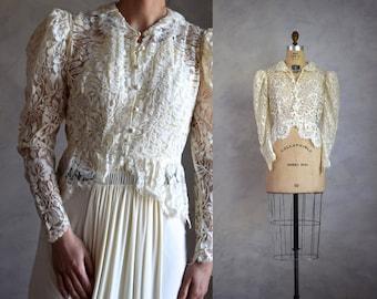 vintage lace jacket   lace wedding cover-up   vintage lace bed jacket   antique cream lace top