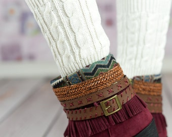 White Wheat Boot Cuffs