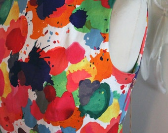 Eve Dress/ Cotton/ Dress/ Lined/ Ink Splat/ Print/ Multi-Colour/ Handmade