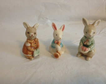 Rabbit Family Ceramic Figurines of Father Mother and Child