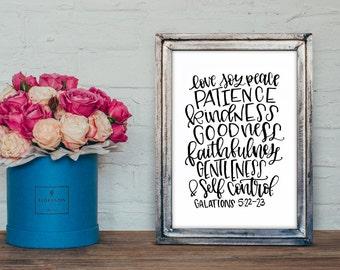 Fruit of the Spirit Printable - Love Joy Peace Patience Kindness Goodness Faithfulness Gentleness & Self Control - Galations 5:22-23 Print