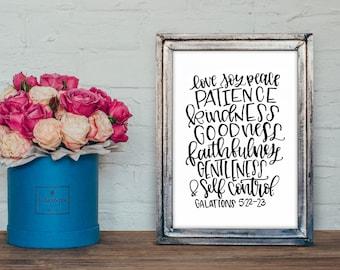 Instant Download - Fruit of the Spirit- Love Joy Peace Patience Kindness Goodness Faithfulness Gentleness & Self Control - Galatians 5:22-23