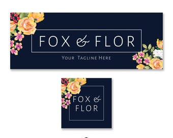 Facebook Banner and Avatar Kit, Watercolour, Template, Small Business, Business, Business Identity, Pre-made, Navy, Floral, Banner