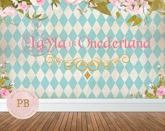 Digital Alice in Wonderland Backdrop, Birthday Backdrop, Alice in Wonderland Theme, First Birthday Backdrop, Sweet Table Backdrop