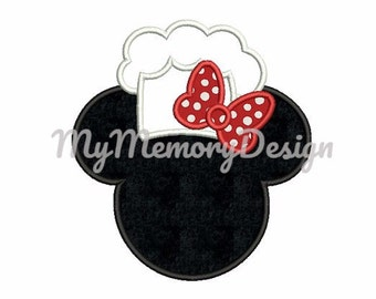 Cook hat applique design - Cook embroidery - Cook hat - Chef hat - Miss mouse head embroidery -  Machine embroidery design
