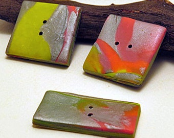 Buttons. Fluro square and rectangular buttons. Set of three related feature buttons.