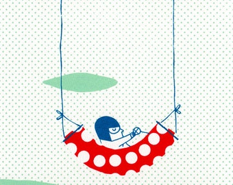 Cool Aviator / Mini Print / Illustration of a relaxed pilot going on vacation / limited edition screenprint