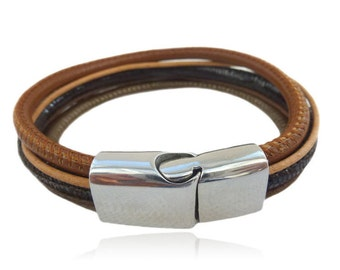 Leather Bracelet multi-row brown, bronze, camel with angular magnetic closure, gifts for her