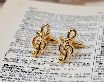 Gold Treble Clef Cufflinks/ Cufflinks/ Cufflinks for men/ Cuff Links/ Mucis jewelry/ Treble Clef Cufflinks/ Music gifts/ Treble Clef jewelry
