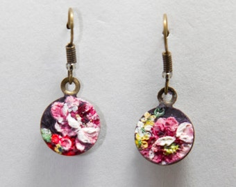 Pink Floral on Purple clay earrings