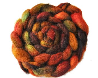 New Zealand Roving, Hand Dyed Roving, Spinning Fiber, Wool Roving, Autumn Leaves
