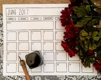 Printable June 2017 Calendar - Black & White Calendar - June 2017 - Minimalist June 2017 - Modern Calendar - June 17 Coloring Page - Planner