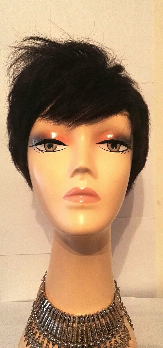 100% human hair pixie cut choppy cut wig 27pc wig wig