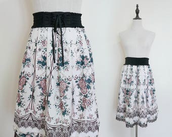 White Brown Floral High Waist Pleated A-Line Vintage Midi Women Skirt
