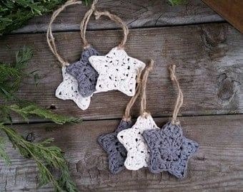 Crochet Star Ornaments, Rustic Christmas Tree, Grey and Cream