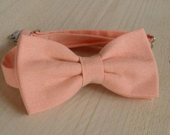 Mens Bowtie in Peach, Bow tie, Mens Bowties Wedding Bowtie Cotton Bowtie Wedding Bow Tie Groomsman Bowtie Mens Gift  Peach Bow tie,