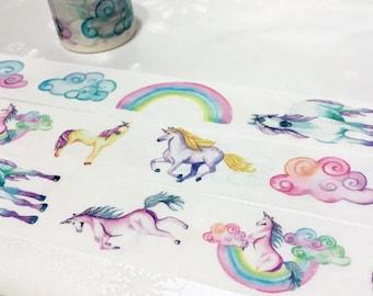 Princess horse washi tape 5M x 3cm fairy tale unicorn horse masking tape wonderland colorful cloud sticker tape pink tape gift decor