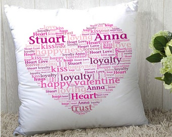 Print pillow word art design; the perfect gift for any occasion, birthdays, wedding, new   home, capture