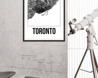 Toronto City Map Print - Black and White Minimalist City Map - Toronto Map - Toronto Art Print - Many Sizes/Colours Available