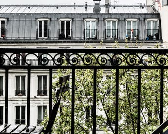 Paris Balcony - Paris Rooftops - Paris Photography - Wall Art Print - Paris Decor - Fine Art Photography  - Balconies of Paris - 0027