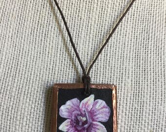 Handpainted orchid necklace, Statement necklace, Mothers day gift, Bridesmaid jewelry gift, Blush pink flower pendant, Gift for her