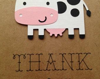 Farm Thank You - Farm and Friends - Barnyard Bash - First Birthday - Cow Thank You - Thank You Note - Farm Theme - Farm Party