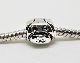 Silver Dog Face Charm for European Bracelets (item 100)