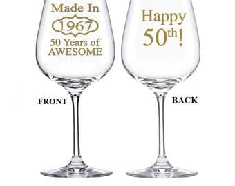 50th Birthday Gift for Women, 50th Birthday Gift for Men, Made in 1967, 50th Birthday Party, 50th Birthday Gift Ideas, 50th Birthday Glass