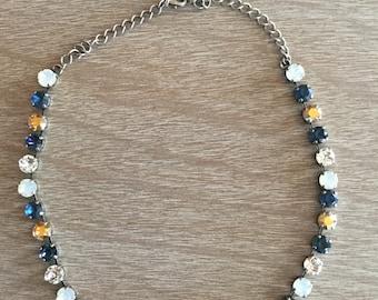 8MM Swarovski Navy and Gold Necklace