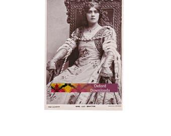 Vintage Edwardian Actress Postcard, Digital Download, Printable Art, Scrapbooking, Collage Sheets, Edwardian Dress, Queen, Crown, Cardmaking