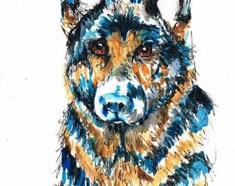 Alsatian Dog watercolour print, Alsatian print, dog print, dog art, German shepherd print, German shepherd gifts, German shepherd card