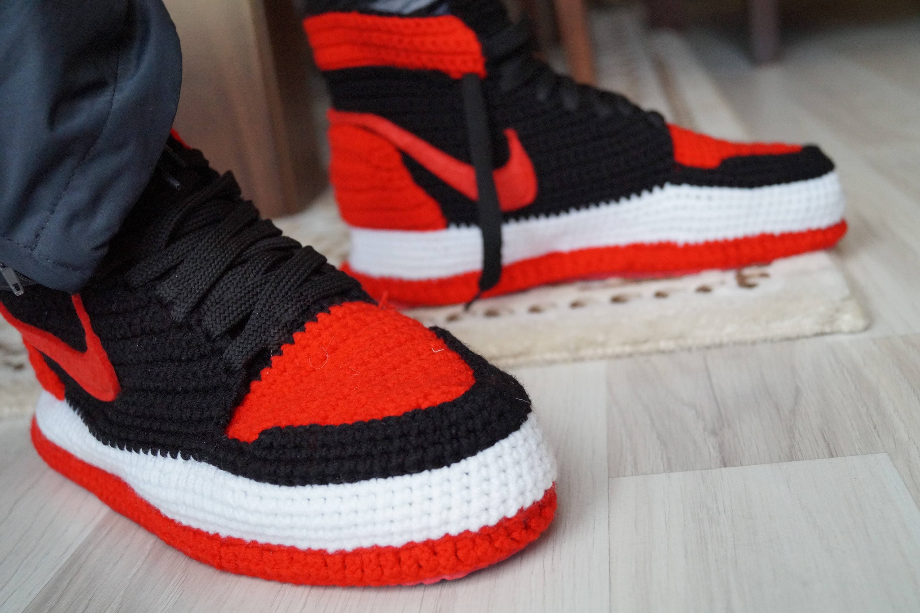Crochet Nike Air Jordan 1 Retro Home Shoe, Michael Jordan Shoes, Nike Air  Jordan