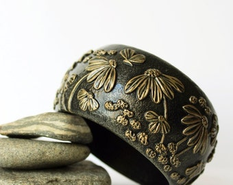 Polymer Clay Jewelry Bracelet Bangle Wide Flower Wearable Floral Pattern Summer Exclusive Wooden Polymer Clay Bracelet Bangle Birthday Gift