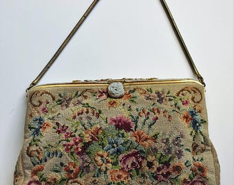 Grospoint tapestry evening bag from 1950's by LKW with original mirror and makers card.
