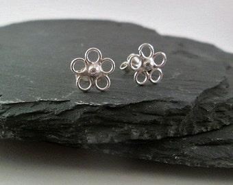 Little flower stud earrings. Sterling silver