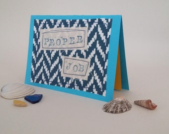 Birthday card, Greeting card, handmade, applique card, for her, for him, made in Cornwall, blue