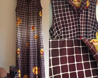 Retro floral maxi dress