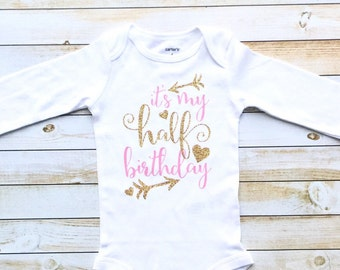 Gold Glitter half birthday outfit, Half birthday bodysuit, birthday photoshoot, half birthday shirt