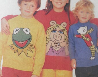 Miss Piggy, Kermit the frog and Rupert Bear, The Muppets, 1970's 1980's knitting patterns, childrens jumper patterns