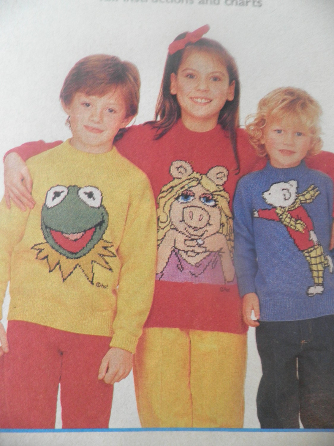 Miss Piggy, Kermit the frog and Rupert Bear, The Muppets, 1970s 1980...