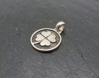 Good Luck Charm/Lucky Charm/Lucky Talisman/Four Leave Clover/Sterling Silver Medallion/Lucky Medallion/Good Luck Amulet/Lucky Clover