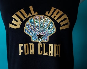 Roller Derby Tank Top // Jammers // Will Jam For Clam // Holographic // Workout Tank