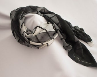 Black and White Scarf ~ Soft Gift for Her ~ Black Scarf, Geometric Print, Sophisticated Accessory, Modal Square Scarf Grey Wearable Art VIDA