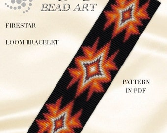 Bead loom pattern - Fire star - LOOM bracelet PDF pattern instant download