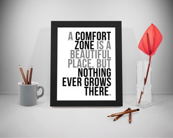 Comfort Zone Printable Quotes, Grow Sayings, Life Quote Print Art, Inspirational Prints, Black And White Poster, Life Art Decor