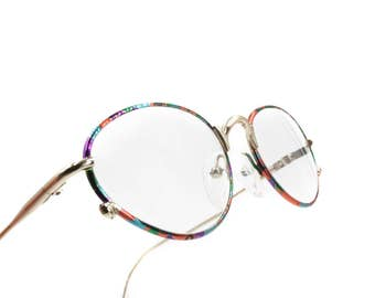 Oval frame eyeglasses pale golden & rainbow colors , adorned perimeter // vintage oval glasses around 1980s