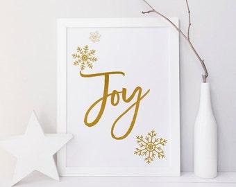 Holiday Party signs, Christmas art print, Christmas wall art, Joy quote print, Snowflake print, Gold, minimalist, Christmas printables, sign